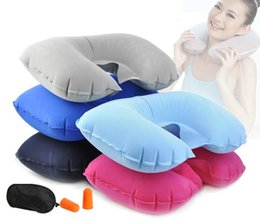 $enCountryForm.capitalKeyWord Canada - Travel Set 3PCS U-Shaped Inflatable Travel Pillow Eye Cover Earplugs Neck Rest U Shaped Neck Pillow Air Cushion