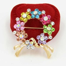 Multicolor Rhinestone Flower Brooch Canada - Stunning Multicolor Crystals Women Trendy Gold Bow Brooch Hot Selling New Design Lady Scarf Pin Bridal Bouquet Flower Wreath Breastpin