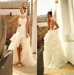 $enCountryForm.capitalKeyWord Canada - 2019 Sexy Illusion Back Wedding Dresses Beach Bridal Gowns Sheer High Neck Tiered Skirts High Low A Line Wedding Gowns Plus Size Vestido