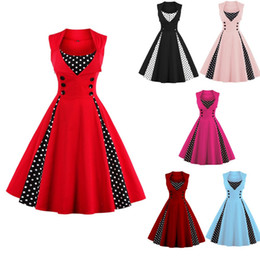 Vestidos De Punto Rojo Baratos-2017 Vintage Plus Size Summer Mujeres Red Polk Dot Audrey Hepbum 50 s Rockabilly Robe Retro Party Dress Feminino Vestidos FS1164