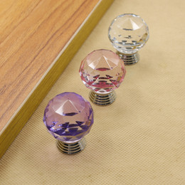 $enCountryForm.capitalKeyWord Australia - 30mm purple pink transparent crystal (ball shape) single door knob handle pull cabinet drawer accessory #311