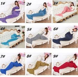 Discount hand crochet bags - 16 Colors 180*90cm Kids Handmade Knitted Mermaid Blankets Mermaid Tail Blanket Crochet Blanket Throw Bed Wrap Sleeping B