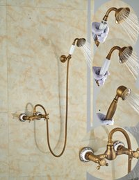 antique brass shower handles NZ - Wholesale And Retail Promotion Luxury Ceramic Style Antique Brass Bathroom Tub Faucet W  Handheld Shower Sprayer Dual Handles