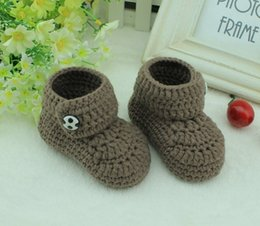 Wholesale Cotton Baby Booties Canada - Handmade brown Crochet Baby Booties kids cute handmade baby Boots shoes for 0-12months custom