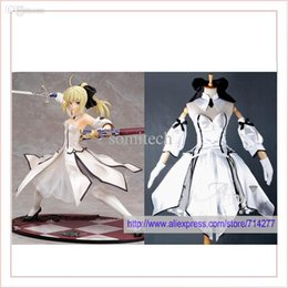 Costumes Cosplay Personnalisés Pas Cher Pas Cher-Vente en gros sans frais de port Custom cheap sabre lily cosplay Costum (blanc) de Fate Stay Night Anime vêtements Noël