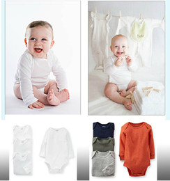 Stock Clothes Winter Canada - Baby Rompers triangle climbing clothing Romper Newborn clothes long-sleeved white Onesies 100% Cotton Triangle full sizes in stock