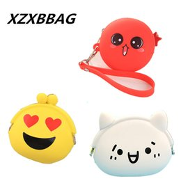 little girls purses wallets NZ - Wholesale- XZXBBAG Cute Expression Face Coin Purse Children kawaii Mini Coin Wallet Little Girl Silicone Pouch Cartoon Zero Wallet Coin Bag