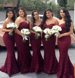 Charms Honor NZ - Charming Burgundy Lace Bridesmaids Dresses 2018 Sweetheart Mermaid Long Country Maid of Honor Dress Wedding Guest Prom Party Gowns Cheap