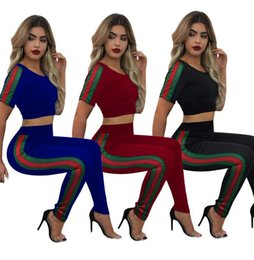 Barato Conjunto De Perneiras Femininas-Women Sports Sets Patchwork Striped Seamless Yoga Vest Calças Leggings Yoga Set Running Fitness Exercício Sportwear 2pcs / set OOA3683