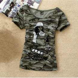 Military Camouflage Clothing NZ - Summer Army Camouflage tshirt Women Letter Crown PrintedT-shirts Students Military Uniform Big Size 4XL Casual Tops Clothing