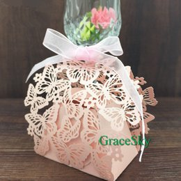 Purple Green Candy Box Canada - 50pcs Free shipping Laser Cut Butterfly Design Wedding Decorations Chocolate Candy Boxes Elegant Hollow Out Paper wedding Party Decoration
