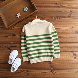 Barato Padrões De Malha Pescoço Solto-Autumn Winter Children Sweater Garment 2017 New Pattern Stripe Sweater Cardigan Baby Loose Coat Baby Knitting sem forro Upper Garme