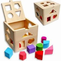 China Free Shipping Wooden Educational Toys Block Children's Toys Thirteen Holes Shape Box Infants Blocks Baby Teaching Blocks cheap baby toy box shapes suppliers