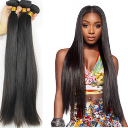 thick virgin remy hair extensions Canada - Peruvian Straight Virgin Hair Weave Unprocessed 7A Remy Human Hair Extensions Natural Black Thick Soft Peruvian Hair Weft Bundles Can Be Dye