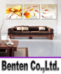 floral oil paintings 2018 - llfa1506 Free Shipping Koi Fish Oil Painting on Canvas Framed 3 Panel Huge Wall Art Chinese Style Feng Shui Interior Dec