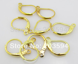 $enCountryForm.capitalKeyWord Canada - 500pcs lot Copper Handmade France Gold Plated Hook Earrings Clip Lever Back Ear Wires Jewelry Finding 16mm