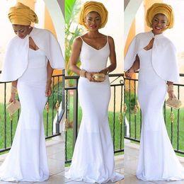 $enCountryForm.capitalKeyWord NZ - Detachable Cloak White Spaghetti V Neck Mermaid Sheath Sexy Elegant Simple Evening Dresses In Stock Prom Dresses
