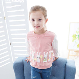 Barato Algodão Azul Lindo-Everweekend Girls Bow Rabbits Tees Cute Baby Pink and Blue Color Clothes Lovely Kids Leisure Style Outono Algodão Tops
