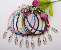 Discount feather jewelry diy - Hot 50pcs Kabbalah Lovely Wide Feather Leaves Charms Pendants Mixed Color Braided Rope Bracelets Fashion Jewelry DIY For
