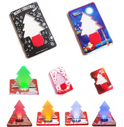 $enCountryForm.capitalKeyWord Australia - Fast DHL!Christmas LED Tree Card Christmas Tree Flashing Pocket Lamp Thin Floding Cards 5 Kind Lights Xmas Greeting Gift Novelty Toy