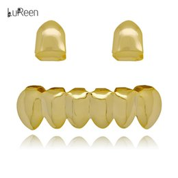 China LuReen 4 Color 2PC Single Shiny Teeth Grillz Top and 6 Teeth Bottom Grillz Set Hip Hop Teeth Jewelry suppliers