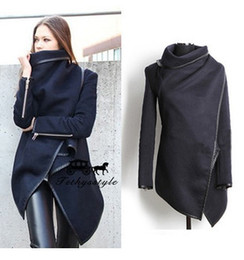 Barato Casaco Azul Lã Mulheres-2015 New Style Women Fashion Coat Long Zipper Lapel Neck Wool Coats Bolsos Irregular Collar Winter Casual Coats Plus Size Blue Outwear