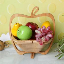 ExquisitE fruit online shopping - Creative Foldable Fruit Basket Abrasion Resistant Simple Portable Wooden Baskets Exquisite Practical Apple Shape Skep New Arrival ad B