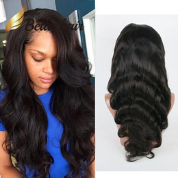 full lace human 2019 - HD Lace Wig Human Hair Body Wave Wavy Full Lace Wigs Bleachable Natural Black Lace Front Wig with Natural Hairline Free