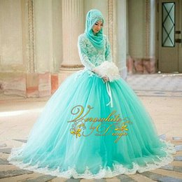 $enCountryForm.capitalKeyWord Canada - Gorgeous Ball Gown Wedding Dresses 2016 High Neck Mint Green Tulle Long Sleeves Ivory Appliques Covered Button Back Court-Train Bridal Gowns