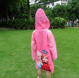 2015 New Raincoat Raincoat Kids Cartoon Raincoat Enfants Rain Wear Elsa Princess Student Raingears Back School Gifts