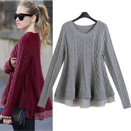 Suéter Crochet Mujer Baratos-Otoño Invierno Mujer Pullover Suéteres Suéteres con Organza Peplum Casual manga larga Top Gorgeouse para las mujeres 3D Rib Crochet Coat WY4005