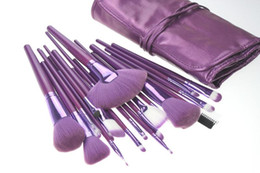 Los Cepillos Del Maquillaje Enrollan Para Arriba El Bolso Baratos-Ismine Brand New 21pcs Pro Makeup Brushes Foundation Sombra de ojos en polvo Cepillos Set Peine de cejas con Roll Up Purple Cosmetic Bag