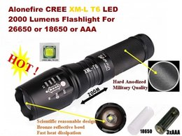 Chinese  USA EU Hot Sel E26 Hard anodized CREE XM-L T6 2000Lumens 5-Mode Zoomable LED CREE Flashlight T6 Torch For 26650 or 18650 or 3 x AAA Battery manufacturers