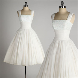 $enCountryForm.capitalKeyWord Canada - Vintage 1950's Style Wedding Dresses Ball Gown Tea Length Little White Dresses Square Neck Chiffon Short Summer Beach Bridal Wedding Gown