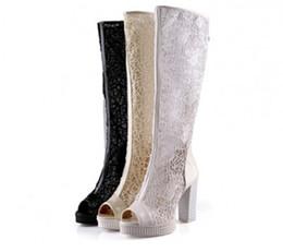 $enCountryForm.capitalKeyWord Canada - Delicated Gauze Peep Toe-shape Wedding Shoes High Heeled 10.5CM Boots Over-the-knee Lace Boots Size US 4-8 PU