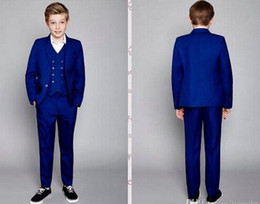 Navy Suits For Sale Australia - Hot sale Boys Formal Wear Three-Piece Two Buttons Custom Made Kids Tuxedo Suits For Party Wedding(jacket+pants+vest)
