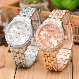 Discount geneva stainless steel rhinestone - Geneva watches Three Eyes Rhinestone Men Women Watches Gold stainless steel band Geneva Diamond Quartz watch Christmas g