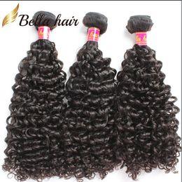 Discount peruvian virgin hair queens product - Peruvian Virgin Humanhair Extensions Kinky Curly Human Hair Weaves Queen Beauty Products Cheap Bellahair Natural Color 3