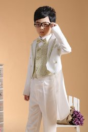 Gray Suit Champagne Tie Canada - Boys Formal Occasion Tuxedo 4pcs Suits=Coat+Pants+Tie+Girdle 2-13Y Children's Special Occasions Outfits Evening Party