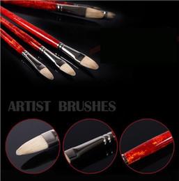 Whole Flat Bristle Paint Brush Fit For Propylene Oil Watercolor Set Art Supplies 709