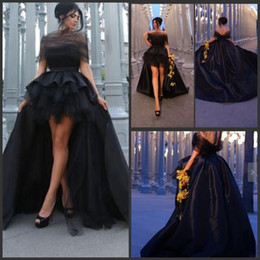 Barato Vestidos De Treino Para Baile-Elegant Black Off Shoulder Prom Dresses 2015 High Low Evening Gowns Sexy Backless Sweep Train Tulle Satin Formal Party Dresses Custom Made