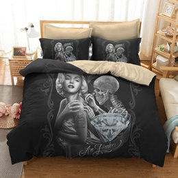 Chinese  Bedroom Decor Sexy Marilyn Monroe 3D Skull Print Bedding Set Full Queen King California King Size 3PCS Duvet Cover 2*Pillowcases manufacturers