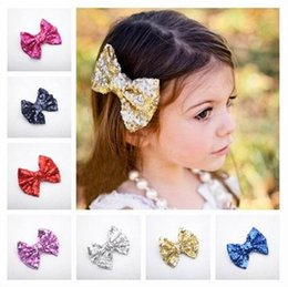 Shiny black hair online shopping - Fashion new christmas gift sequin big bows hair clips accessories beautiful shiny bowknot Barrettes headdress for baby girls
