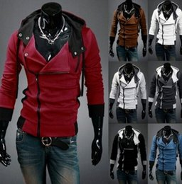 Barato Desmond Milhas Cosplay Costume-dorp SHIPPING New Assassin's Creed 3 Desmond Miles Hoodie Top Coat Jacket Cosplay Costume, assassins creed style Casaco com lã com capuz, @dds