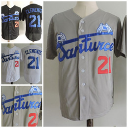 Barato Botões Para Barato-Cheap Man Retro Button Down Stitched Santurce Crabbers Porto Rico 21 Roberto Clemente Coolbase Baseball Jerseys
