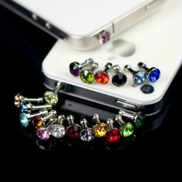 $enCountryForm.capitalKeyWord NZ - Luxury Phone Accessories Small Diamond Rhinestone 3.5mm Dust Plug Earphone Plug For Iphone & Ipad & Samsung& HTC Wholesales PY