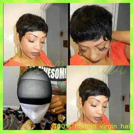$enCountryForm.capitalKeyWord Canada - Short Full Lace Human Hair Wigs With Bangs Glueless Full Lace Bob Wigs For Black Women 7A Virgin Malaysian Lace Front Wigs Cheap