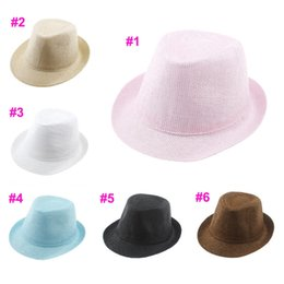 straw hat crochet girl 2019 - DIY pure color 6 colors Kids Straw Hat Baby Summer Straw Cowboy Hat Boys Girls Straw Fedoras Baby Strawhat 10pcs discoun