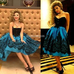 dark green tea 2019 - Arabia Myriam Fares Red Carpet Evening Dressese Sweetheart Lace Tea length Mini Short Black Lace Cocktail Dress Celebrit