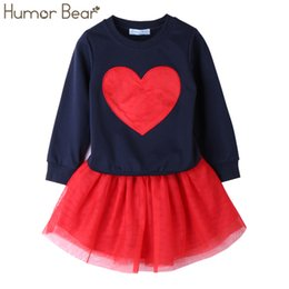 Falda Larga De Los Cabritos Al Por Mayor Baratos-Al por mayor-Humor Bear NUEVA Otoño Baby Girl Clothes Girls Clothing Sets Love Long Sleeve + Faldas Casual 2 UNIDS Niñas Trajes Niños Ropa Conjuntos